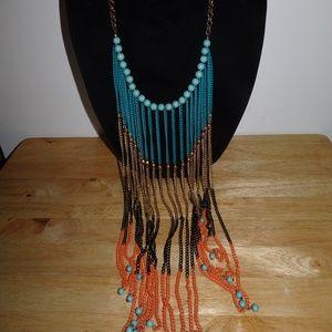 Dangle Beaded Tribal Strand Necklace